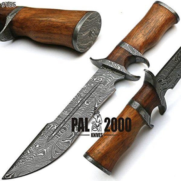PAL 2000 KNIVES Fixed Blade Survival Knife 2 Sub Hilt Custom Handmade Damascus Steel Hunting Bowie Knife -Sword/Chef Kitchen Knife/Dagger/Full Tang/Skinner/Axe/Billet/Folding Knife/Kukri/knives accessories/survival/Camping With Sheath 9155