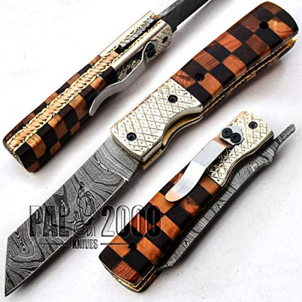 PAL 2000 KNIVES Folding Survival Knife 1 PAL 2000 KNIVES Handmade Damascus Steel Folding Clip Knife with Sheath 8 Inches Rose Wood and Olive Wood Handle New Pattern Blade Liner Lock 9609