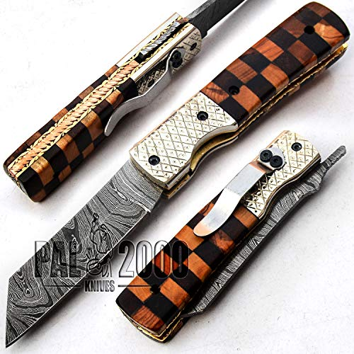 PAL 2000 KNIVES  1 PAL 2000 KNIVES Handmade Damascus Steel Folding Clip Knife with Sheath 8 Inches Rose Wood and Olive Wood Handle New Pattern Blade Liner Lock 9609