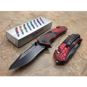 TAC Force Folding Survival Knife 1 TAC Force Assisted Opening Spider WEB Design Handle Rescue Tactical Black Stainless Steel Blade for Hunting Camping Outdoor - Black/red