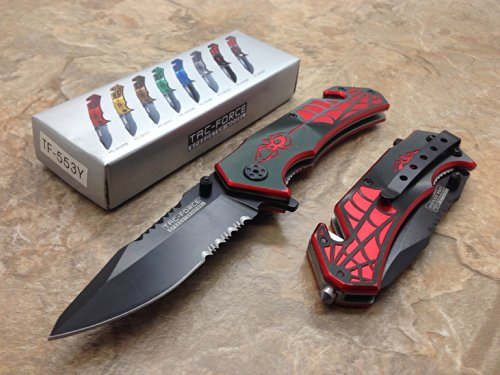 TAC Force  1 TAC Force Assisted Opening Spider WEB Design Handle Rescue Tactical Black Stainless Steel Blade for Hunting Camping Outdoor - Black/red