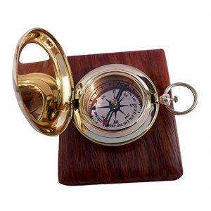 THORINSTRUMENTS Survival Compass 1 Handmade Brass Push Open Compass with Rose Wood Case, Pocket Compass for Hiking