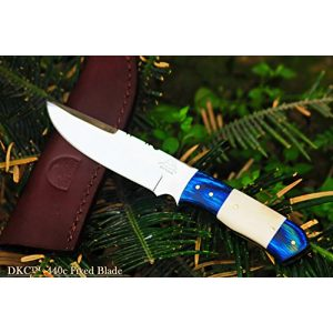 "DKC Knives Fixed Blade Survival Knife 1 (2 6/18) DKC-521-HT-440c Blue Moon Hunter 440c Stainless Steel Hunting Handmade Knife Fixed Blade 7 oz 9"" Long"