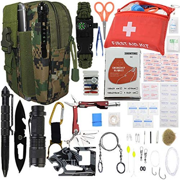 """A+ Alertoa Survival Kit 1 A+ Alertoa 30+""""Items in 1 Survival kit/Emergency Gears + First Aid kit; Include All Essential & Tools for Camping Biking Hunting Outdoor Birthday Gift - Men Women Boys Girls Need This Cool kit"""