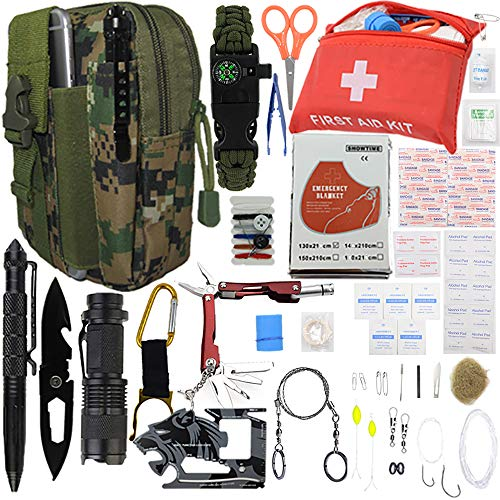 """A+ Alertoa  1 A+ Alertoa 30+""""Items in 1 Survival kit/Emergency Gears + First Aid kit; Include All Essential & Tools for Camping Biking Hunting Outdoor Birthday Gift - Men Women Boys Girls Need This Cool kit"""