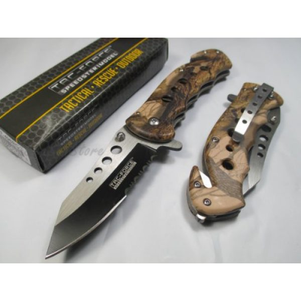 Hardware & Outdoor Folding Survival Knife 1 Tac Force Assisted Opening Rescue Tactical Pocket Folding Stainless Steel Blade Knife Outdoor Survival Camping Hunting - Brown Camo