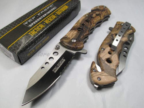 Hardware & Outdoor  1 Tac Force Assisted Opening Rescue Tactical Pocket Folding Stainless Steel Blade Knife Outdoor Survival Camping Hunting - Brown Camo