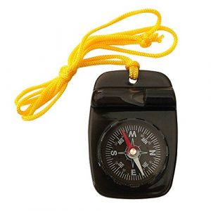 Skywalker Survival Compass 1 Compass with Safety Whistle and Lanyard, Black