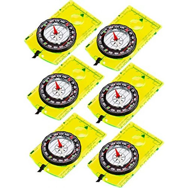 Gejoy Survival Compass 1 Gejoy 6 Pieces Navigation Backpacking Compass Orienteering Hiking Compass Adjustable Map Reading Compass for Boy Scout Kids Outdoor Camping (Style 1)