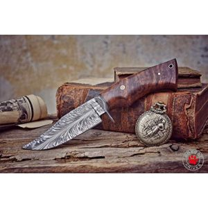 Bobcat Knives Fixed Blade Survival Knife 1 Bobcat Knives -10-inch Overall, Bladesmith Pride, Hunting Bowie Knife - Full Tang Fixed Blade Damascus Steel - Walnut Wood Handle with Leather Sheath