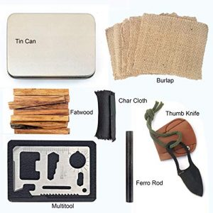 PBL  1 PBL Natural Firestarting Survival Kit Fatwood Ferro Rod Ferrocerium Flint Char Cloth Knife Tinder Multifunctional Tool Tin Container Backpacking Emergencies Camping Kaeser Since 1989