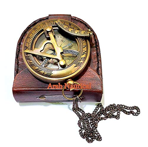 Arsh Nautical  1 Arsh Nautical Gifts for Husband/Nautical Collectibles Brass Sundial Compass with Handmade Leather Case