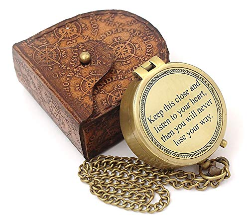 Roorkee Instruments India Survival Compass 1 Roorkee Instruments India/Keep This Close/Unique Quote Compass W/Case/Directional Magnetic Compass for Navigation/Compass for Camping, Hiking, Touring/Gift for Him
