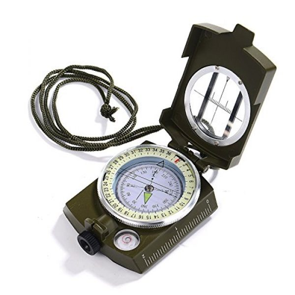GWHOLE Survival Compass 1 GWHOLE Military Lensatic Sighting Compass Waterproof for Outdoor Activities