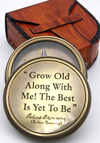 Delhi Arts  1 Delhi Arts Robert Browning Saying Engraved Compass Perfect Valentines Day gfit