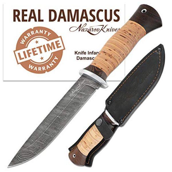 Nazarov Knives Fixed Blade Survival Knife 1 Damascus Steel Knife - Fixed Blade Knives - Real Damascus Hunting Knife - Birchbark - INFANTRYMAN Standard Edition - Leather Sheath