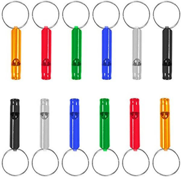 JUSTMIKEO Survival Whistle 1 Set of 12 Extra Loud Whistles for Camping Hiking Hunting Outdoors Sports and Emergency Situations, Sturdy but Light Aluminium Key Chain Signals