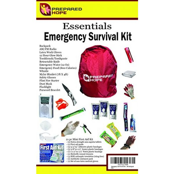 Prepared Hope Survival Kit 6 Prepared Hope ESSENTIALS Emergency Survival Kit for Camping, Hiking, and Bug-Outs with Backpack Included