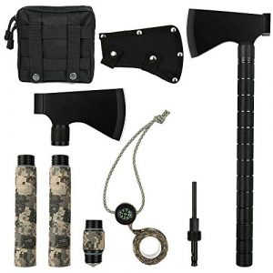 iunio Survival Kit 1 iunio Camping Axe, Hatchet with Sheath, Multi-Tool, Camp Ax, Survival Gear, Folding Portable Tools, for Hiking, Backpacking, Emergency, Hunting, Outdoor (Black with Bag)