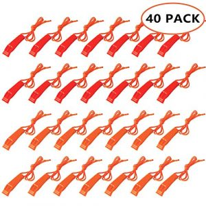Augsun  1 Augsun 40 Pcs Emergency Safety Whistle Plastic Whistles Set with Lanyard