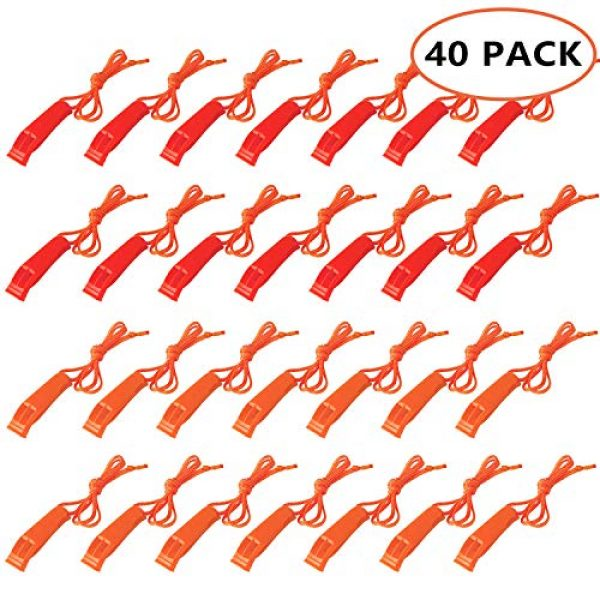 Augsun Survival Whistle 1 Augsun 40 Pcs Emergency Safety Whistle Plastic Whistles Set with Lanyard,Red and Orange