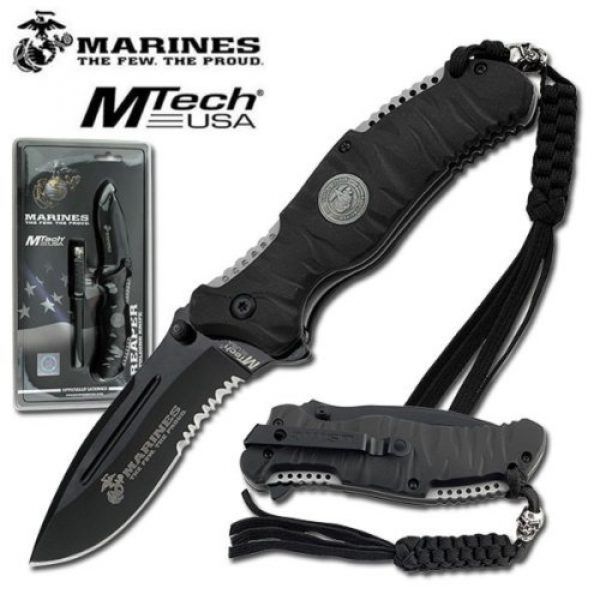MTECH USA Folding Survival Knife 1 US MARINE CORPS TACTICAL FOLDING KNIFE - HEAVY DUTY BLACK