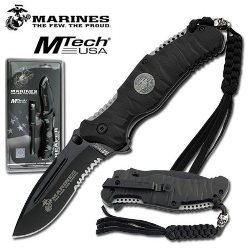 MTECH USA  1 US MARINE CORPS TACTICAL FOLDING KNIFE - HEAVY DUTY BLACK