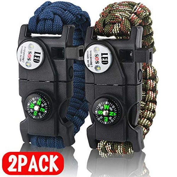 IMPHOM Survival Paracord Bracelet 1 IMPHOM Survival Bracelet Paracord Military Buckle Tool Adjustable Rope Accessories Kit, Fire Starter, Knife, Compass, LED Light,Whistle,for Fishing Hiking Travel Camp(2pcs)