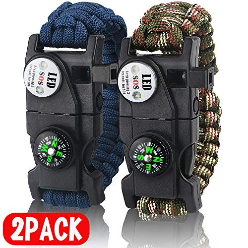 IMPHOM  1 IMPHOM Survival Bracelet Paracord Military Buckle Tool Adjustable Rope Accessories Kit