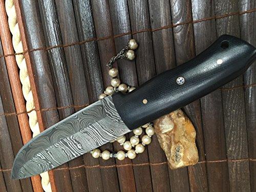 Perkin  2 Perkin - Custom Handmade Damascus Hunting Knife with Sheath - Survival Knife