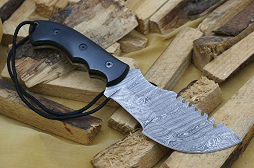 """Knife King Premium  1 Knife King Premium """"Tracker Damascus Hunting Bowie Knife. Micarta Handle.Razor Sharp. Solid Quality Hunter.Comes with a Sheath."""