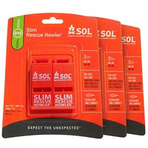 S.O.L. Survive Outdoors Longer  1 S.O.L. Survive Outdoors Longer S.O.L. Slim Rescue Howler Whistle