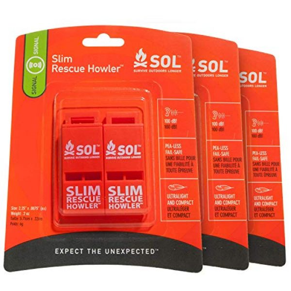 S.O.L. Survive Outdoors Longer Survival Whistle 1 S.O.L. Survive Outdoors Longer S.O.L. Slim Rescue Howler Whistle, 2 ct (Pack of 3)