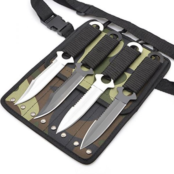 Out Topper Fixed Blade Survival Knife 1 Out Topper Diving Knife Set,Camping Hunting Military Survival Knife with Leg Strap 420C Stainless Steel Tactical Knives,Pack of 4