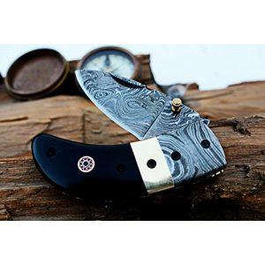 """DKC Knives Folding Survival Knife 1 (8 6/18) Sale DKC-43 Black Thumb Damascus Steel Folding Pocket Knife 3.5"""" Folded 6.25"""" Open 7.5oz 2.25"""" Blade Black Buffalo Horn Damascus Bolster"""