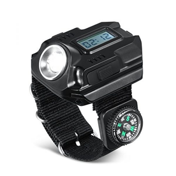 SUNDERPOWER Survival Flashlight 1 Portable Rechargeable Wrist Light - Waterproof LED Tactical Flashlight for Outdoor Running Hiking Camping Birthday Gift