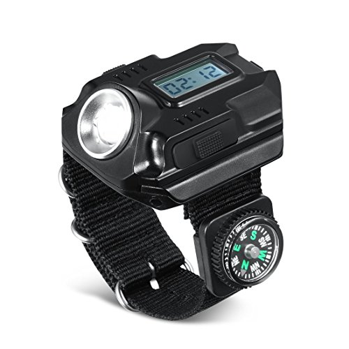 SUNDERPOWER  1 Portable Rechargeable Wrist Light - Waterproof LED Tactical Flashlight for Outdoor Running Hiking Camping Birthday Gift