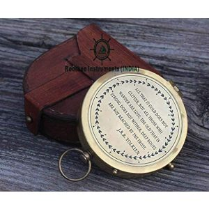 Roorkee Instruments India Survival Compass 1 Thoreau's Go Confidently Quote/Robert Frost Poem Engraved Compass/J R R Tolkien/John Mascficld/ Quote Compass/Gift for All Occasion.Camping Compass, Boating Compass