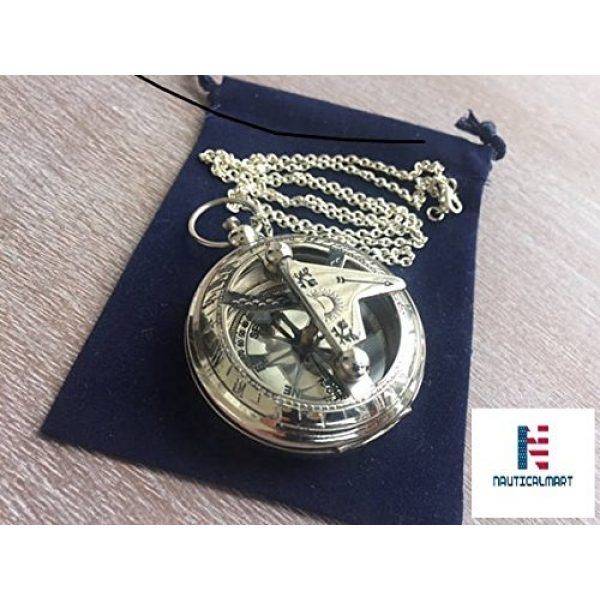 NauticalMart Survival Compass 1 Brass Sundial Compass with Chain & Velour Bag - Necklace Pendant Vintage Nautical Gift
