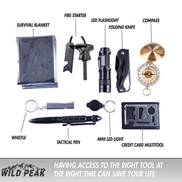 Wild Peak Survival Kit 2 Wild Peak Prepare-1 Survival Tool Kit with Axe Multi-Tool Card and a Thin Multi-Tool Card for Camping Gear, Hiking, Climbing, Fishing and Hunting