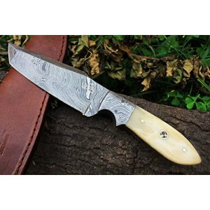 "DKC Knives Fixed Blade Survival Knife 1 (12 7./18) Sale DKC-515 White STAG Damascus Tanto Hunting Handmade Knife Fixed Blade 9.5 oz 9"" Long"