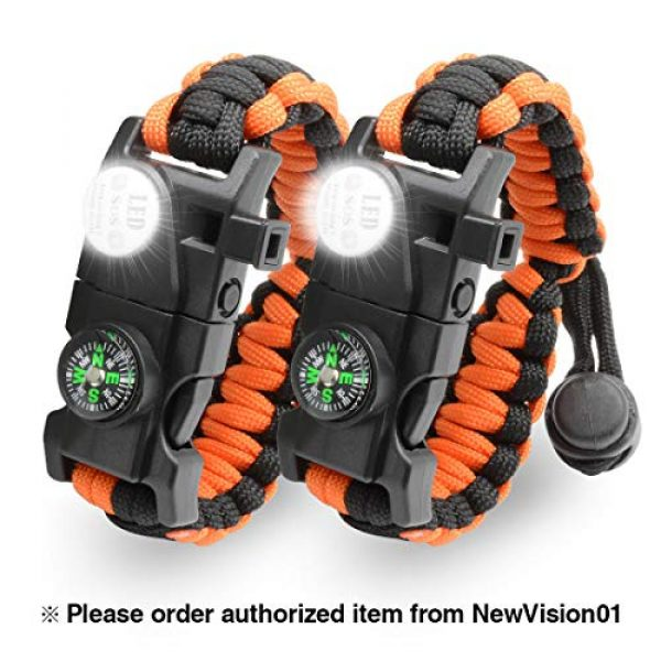 NVioAsport Survival Paracord Bracelet 1 NVioAsport Survival Bracelet, 20 in 1 Adjustable Survival Paracord Bracelet, Survival Gear Kit with Compass, Rescue Whistle, Fire Starter for Hiking, Camping and Hunting - 2 Pack