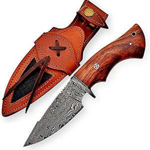 FH Knives  1 10 Inch Damascus Knife Handmade Hunting Knife with Sheath Fixed Blade Knife Non-Slip Walnut Wood Handle