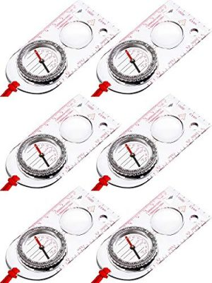Gejoy Survival Compass 1 Gejoy 6 Pieces Navigation Backpacking Compass Orienteering Hiking Compass Adjustable Map Reading Compass for Boy Scout Kids Outdoor Camping (Style 2)