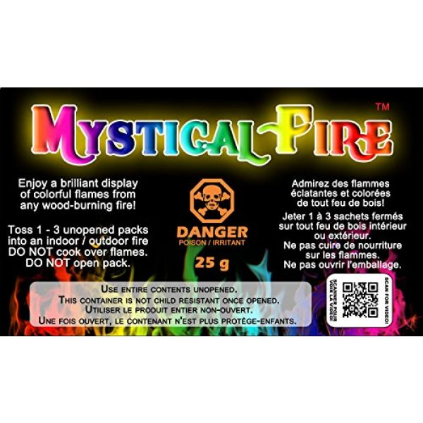 Mystical Fire Survival Fire Starter 1 Mystical Fire Flame Colorant Vibrant Long-Lasting Pulsating Flame Color Changer for Indoor or Outdoor Use 0.882 oz. Packets 2 Pack