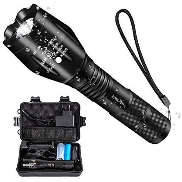 Airand Survival Flashlight 1 Airand LED Tactical Flashlight 3000 Lumen Rechargeable LED Flashlight Torch Flashlight 18650 Battery Charger, Zoomable, 5 Modes, Waterproof Handheld Light Spotlight For Outdoor, Camping, Hiking