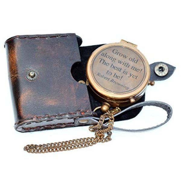 india nautical Survival Compass 1 india.nautical. Grow Old with ME Engraved Brass Compass ON Chain with Leather CASE, Directional Magnetic Compass in