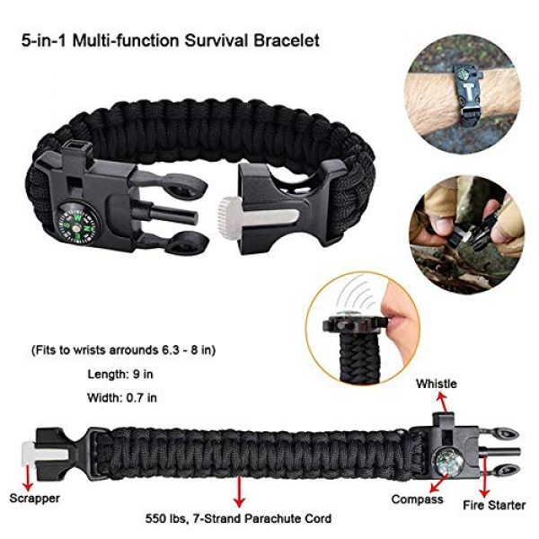 GRULLIN Survival Kit 3 GRULLIN Outdoor Survival Kit, 43 in 1 Multi-Purpose First Aid Emergency EDC Survival Kit with Survival Bracelet Pill Box Emergency Blanket for Car Camping Hiking Travel Adventures