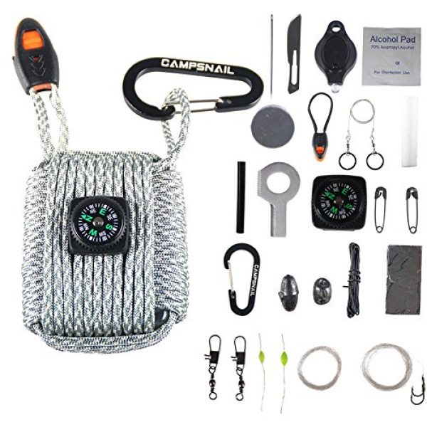 CAMPSNAIL Survival Kit 1 CAMPSNAIL Emergency Survival Kit Grenade - 25 Accessories First Aid Kit Survival Wrapped in 550 lb Paracord Survival Grenade Cord for Emergencies