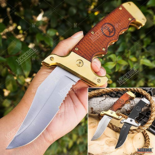 KCCEDGE BEST CUTLERY SOURCE  1 KCCEDGE BEST CUTLERY SOURCE Pocket Knife Camping Accessories Survival Kit Razor Sharp Clip Point Pakkawood Survival Folding Knife Camping Gear EDC 55600